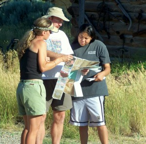 Teachers consult a map during their place-based project in Colorado.