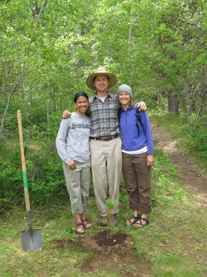 Anne Marie Untalan, Michael Becker, and Ashley Sprouse, developers of the HRMS Outdoor Classroom Project.